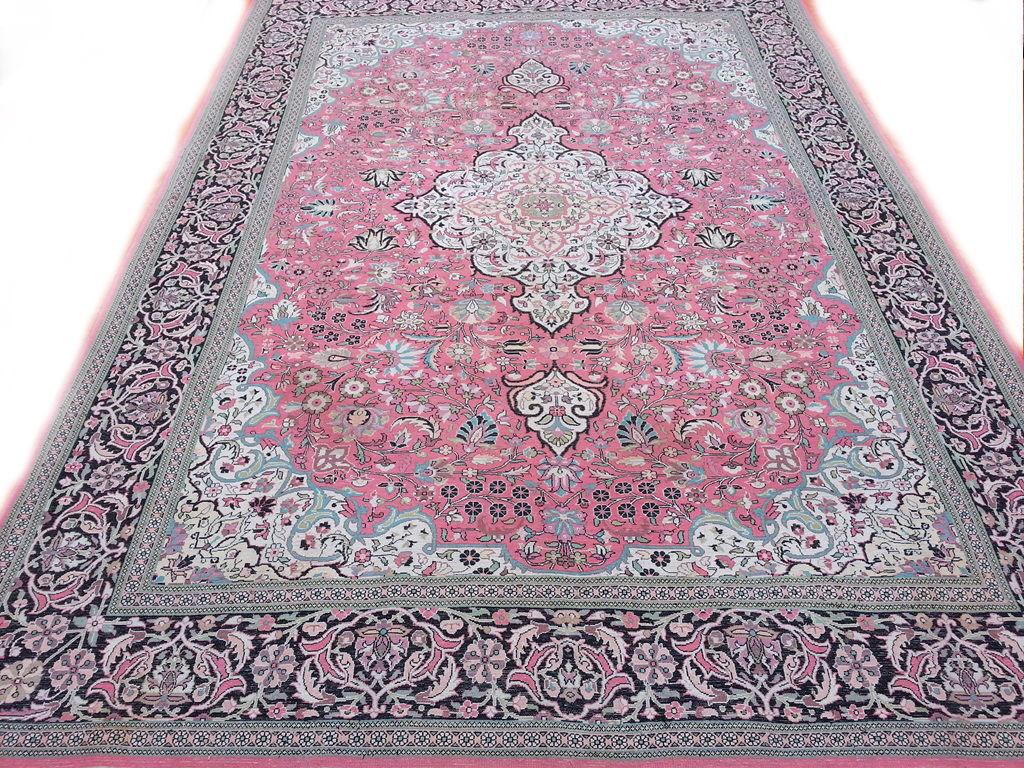 Vintage Roze Perzisch Oosters Tapijt van zijde 218 x 310 cm