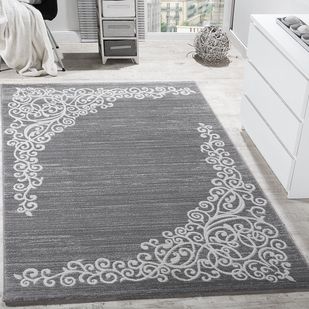Modern floraal design tapijt grijs 160 x 220 cm - Grijs tapijt ...