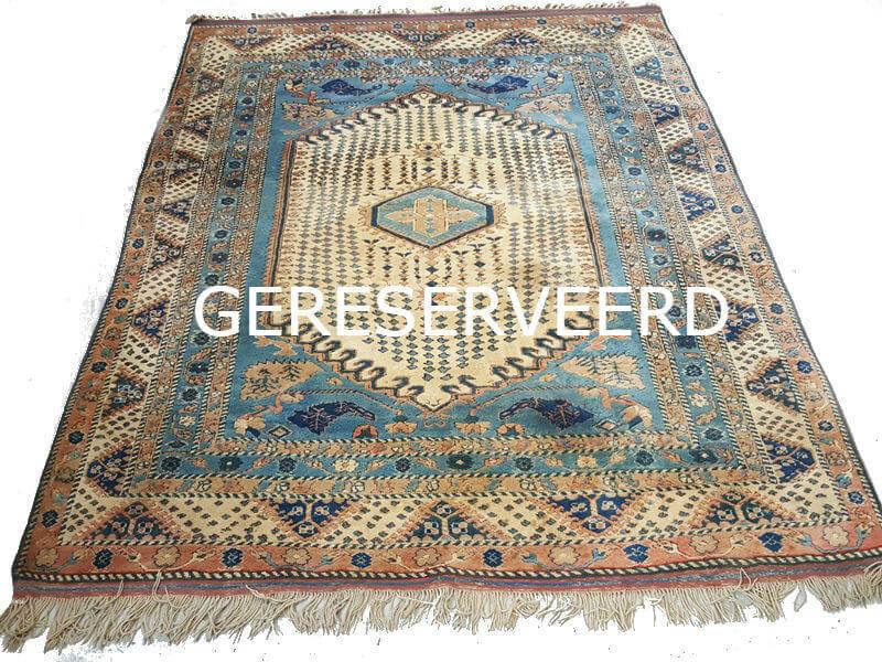 Perzisch Tapijt Blauw : Fraai oosters tapijt blauw beige 200 x 210 cm deolijfberg.nl