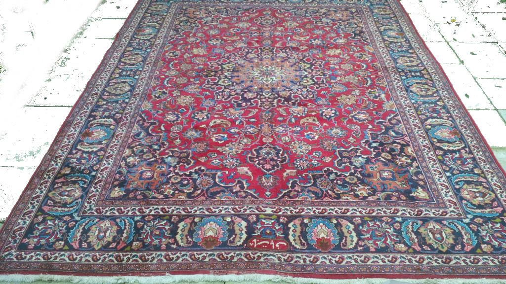 Perzisch Tapijt Blauw : Vintage perzisch mashad tapijt blauw rood 250 x 340 cm