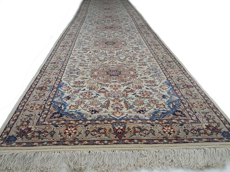 Perzisch Tapijt Blauw : Nain l9 beige blauw perzisch tapijt loper met zijde 450 x 81 cm