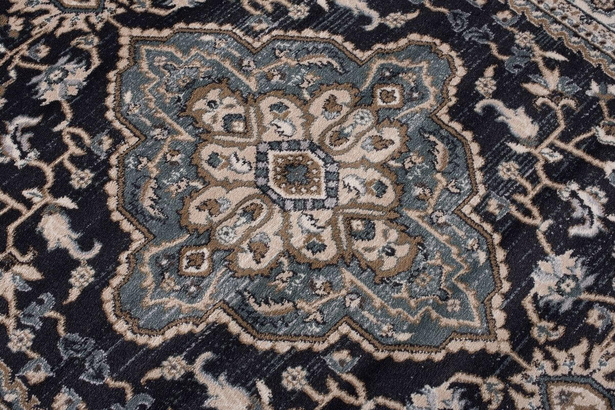 Vintage design tapijt blauw grijs 160 x 220 cm - Grijs tapijt ...